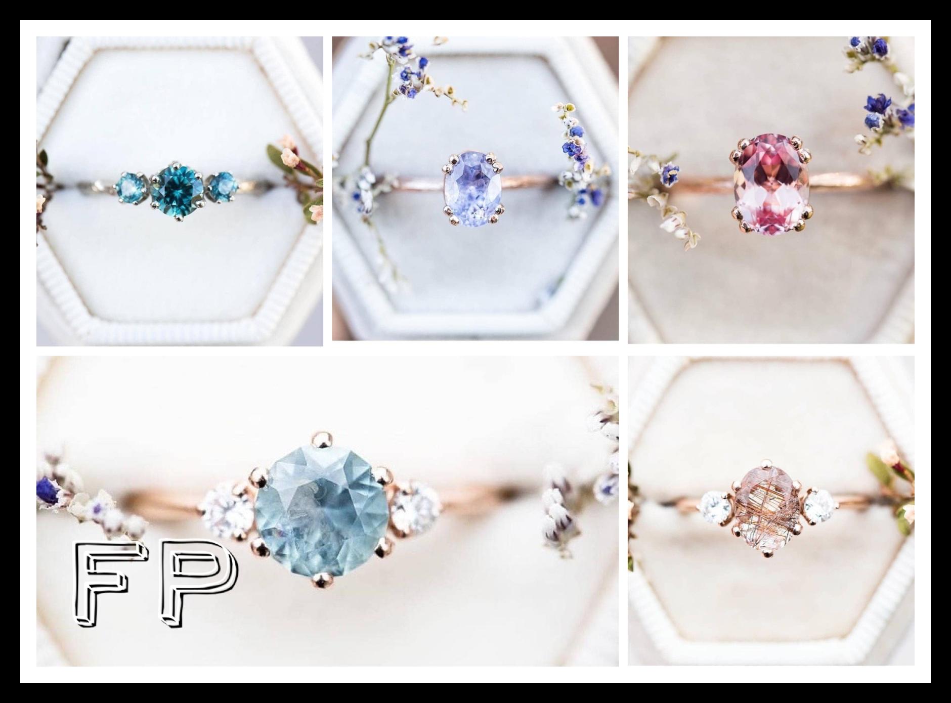 кольцо голубой бриллиант