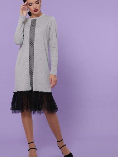 Платье ниже колена с длинным рукавом