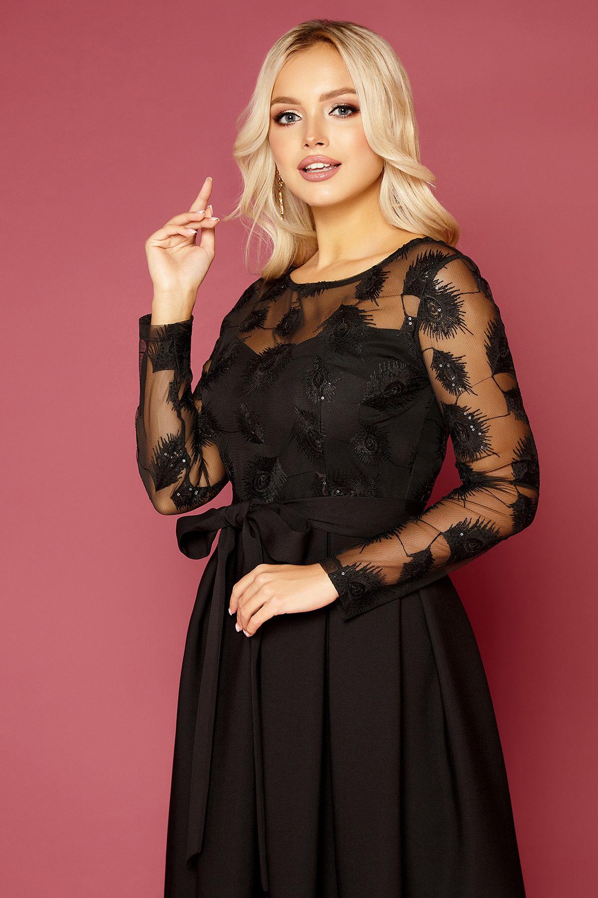 Черное платье с пышной юбкой-4