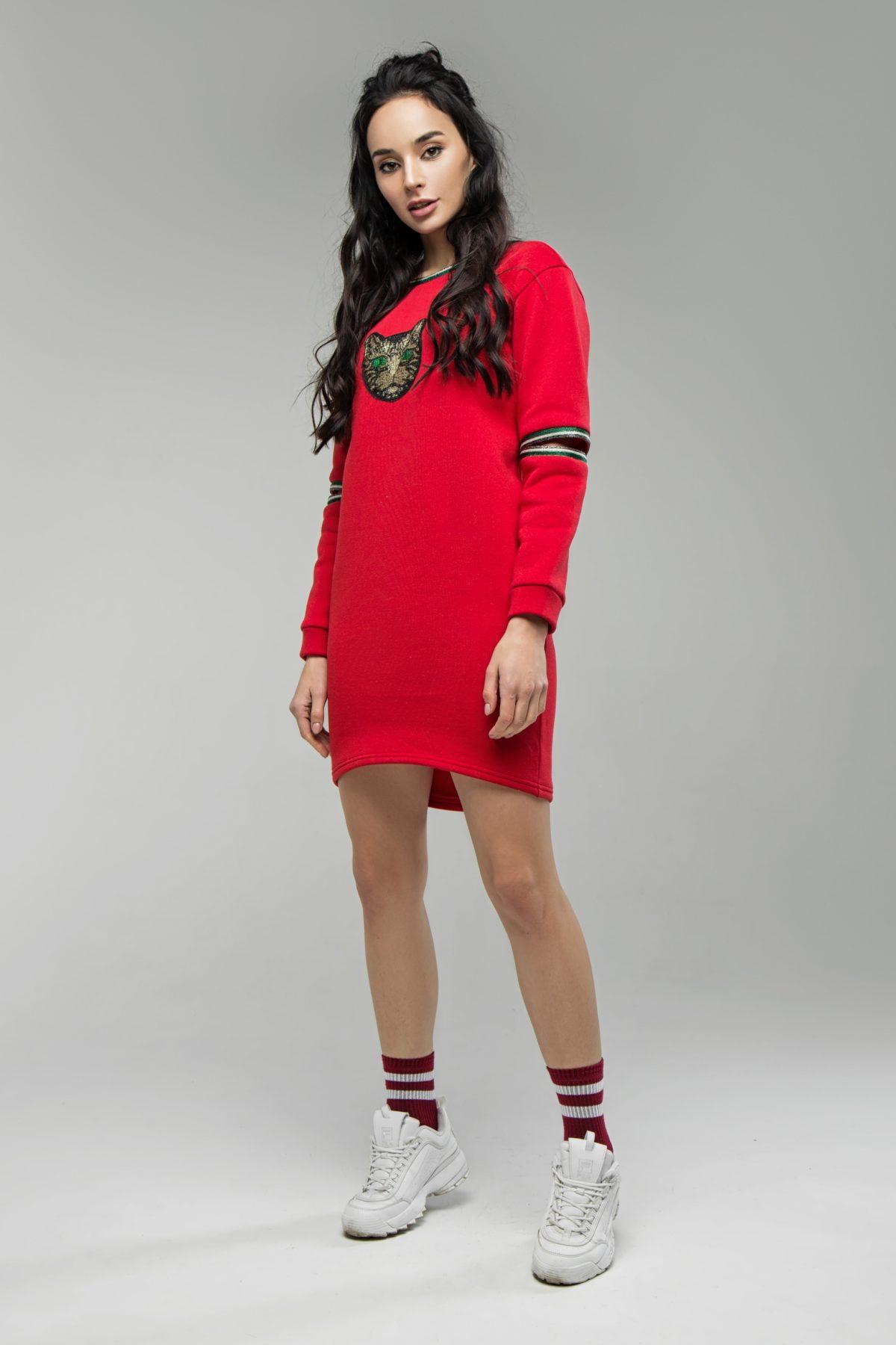 Худи платье красное