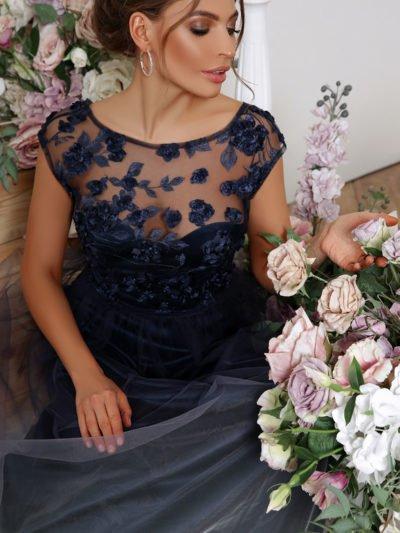 Вечернее платье с юбкой сеткой 4