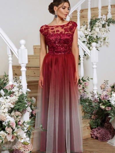 Вечернее платье с юбкой сеткой