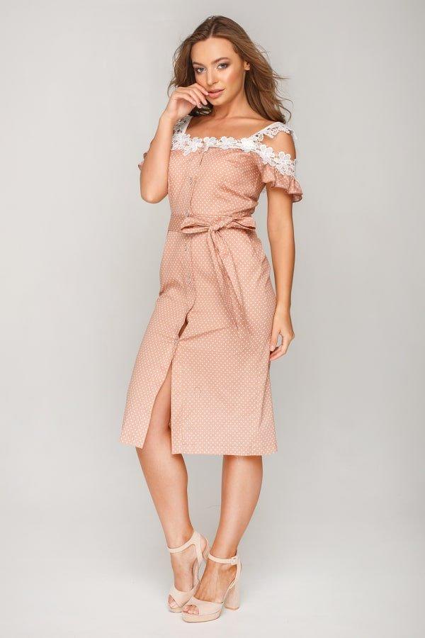 Платье в горошек с кружевом 2