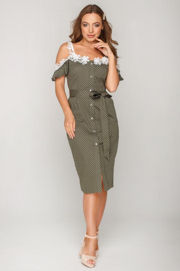 Платье в горошек с кружевом 4