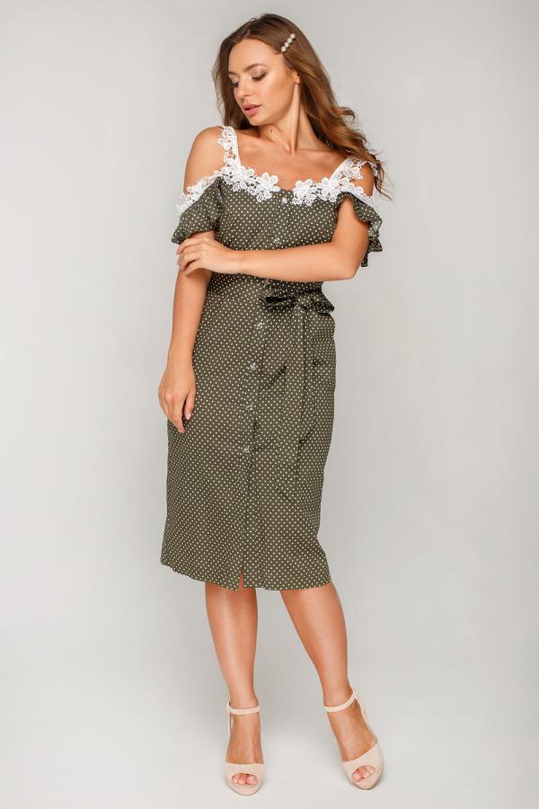 Платье в горошек с кружевом 5