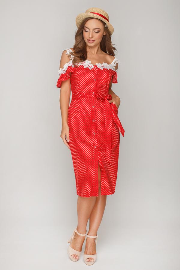 Платье в горошек с кружевом 10