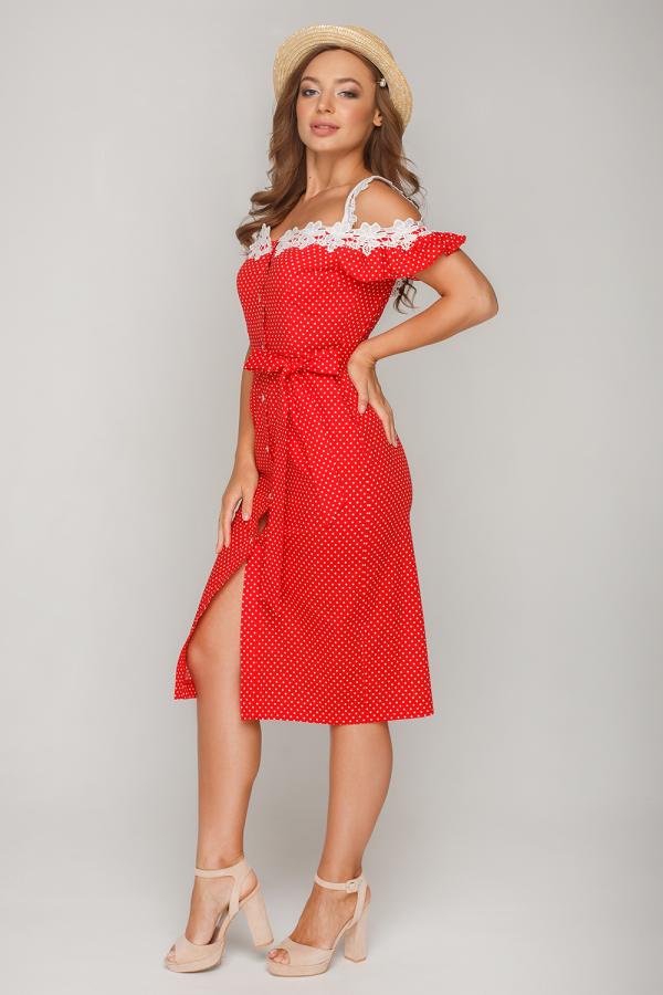 Платье в горошек с кружевом11