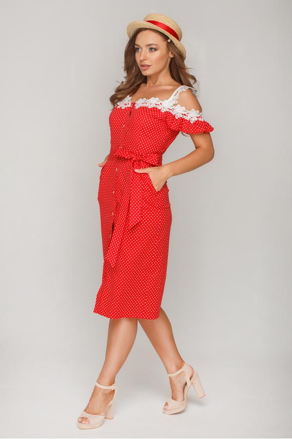 Платье в горошек с кружевом12