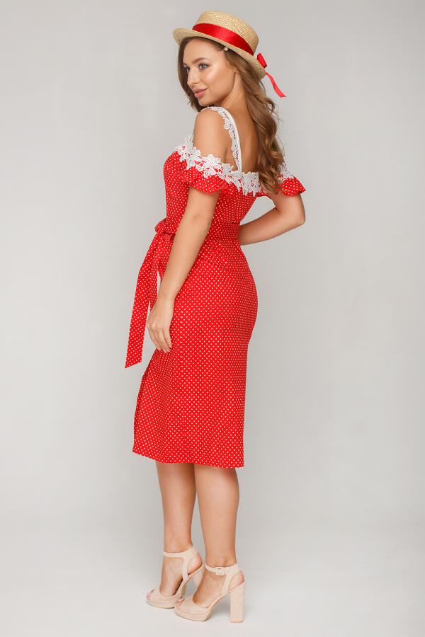Платье в горошек с кружевом14