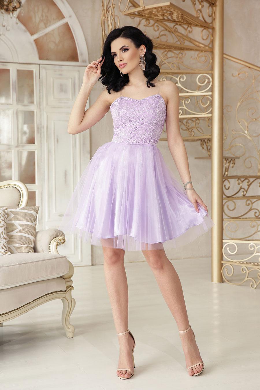 Нарядное короткое платье из атласа, кружево, пышный низ7
