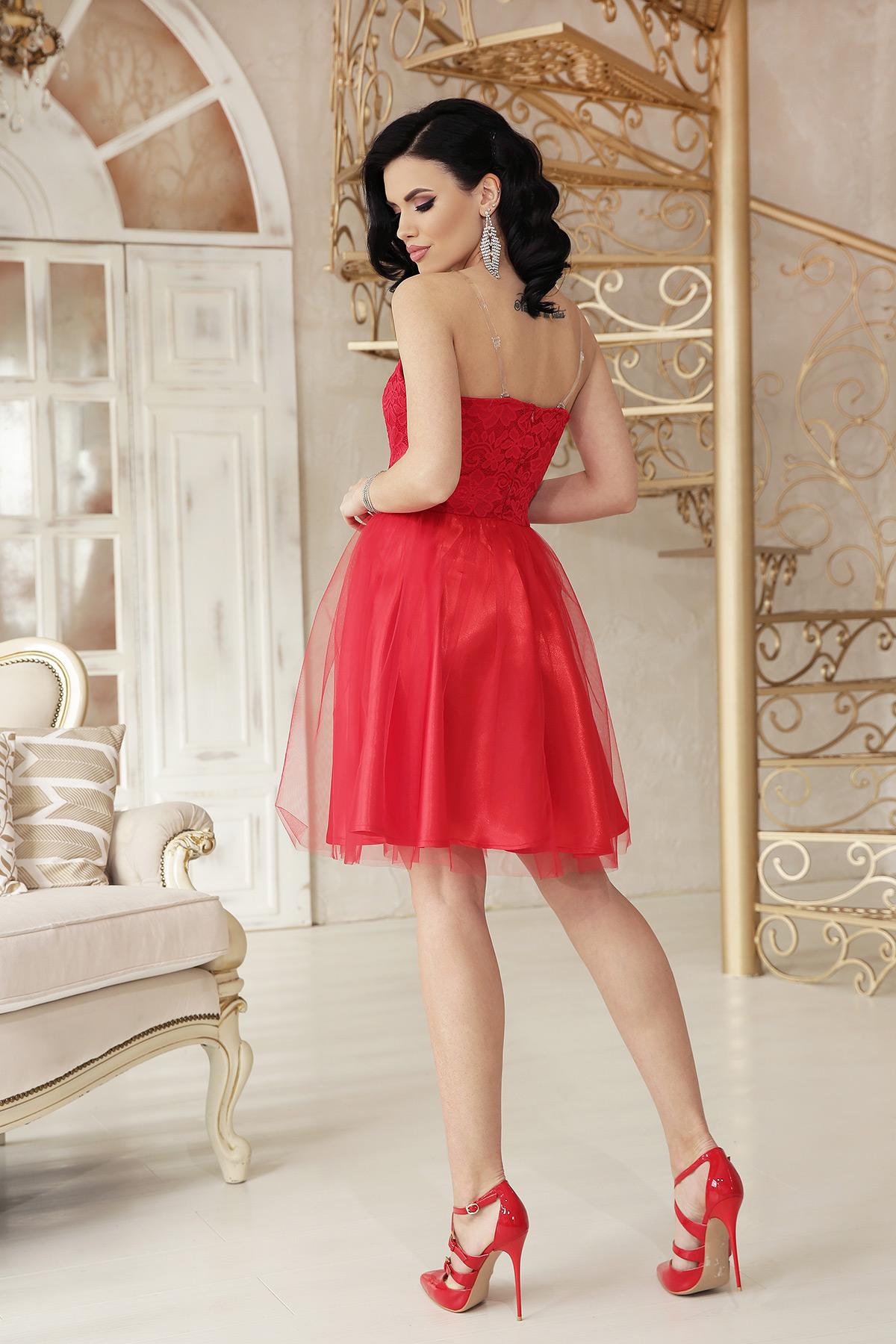 Нарядное короткое платье из атласа, кружево, пышный низ3
