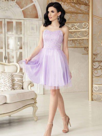 Нарядное короткое платье из атласа, кружево, пышный низ2