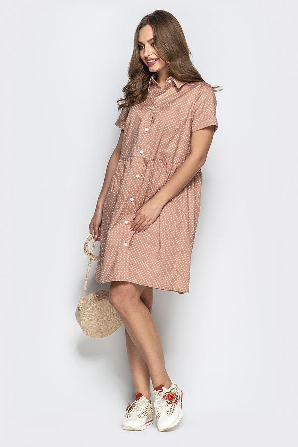 Платье в мелкий горошек на пуговицах 2