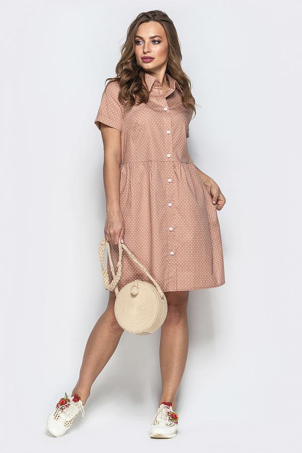 Платье в мелкий горошек на пуговицах