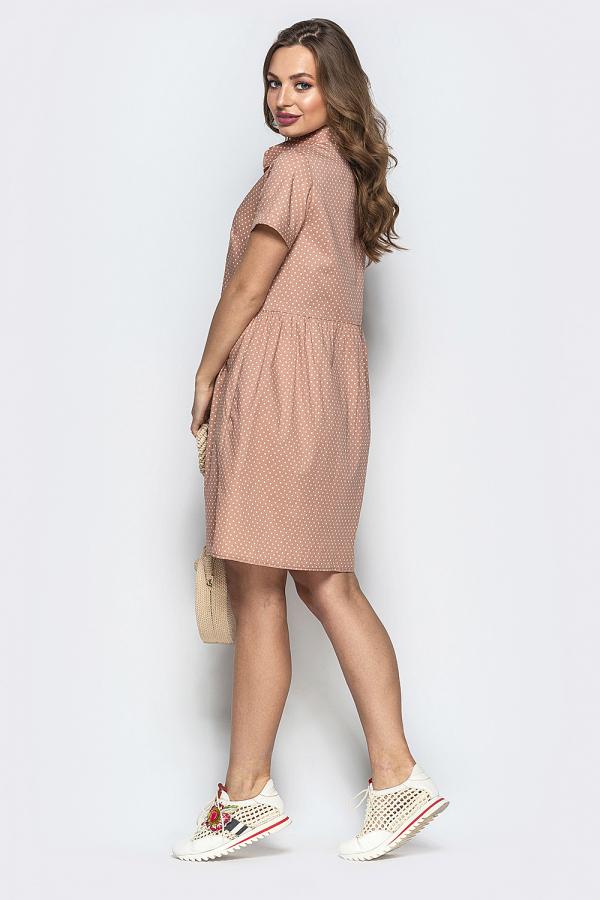 Платье в мелкий горошек на пуговицах 3