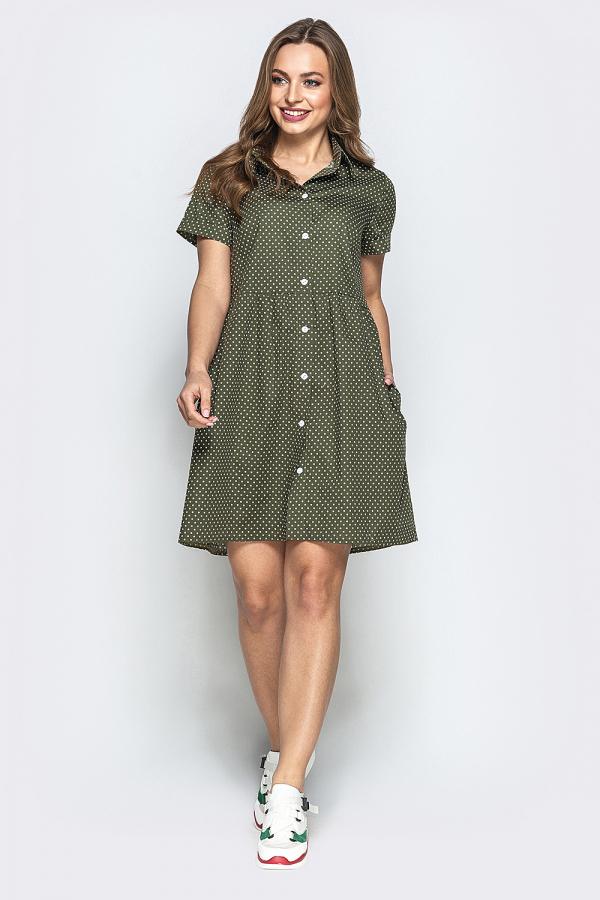 Платье в мелкий горошек на пуговицах 4