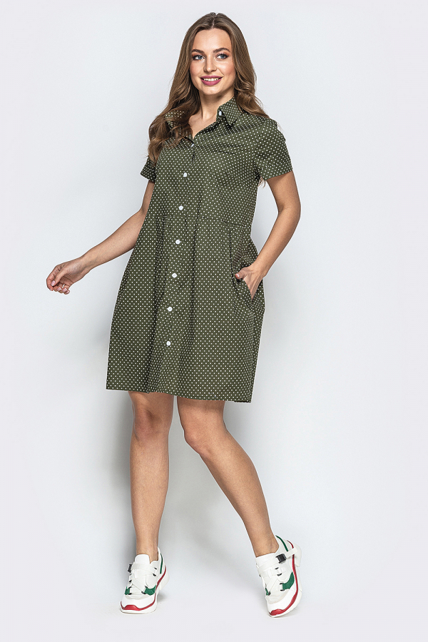 Платье в мелкий горошек на пуговицах 5