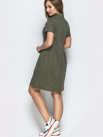 Платье в мелкий горошек на пуговицах 6