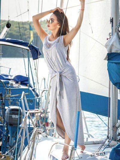 Длинное платье с разрезом: летнее на каждый день