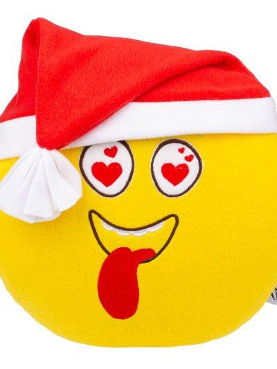 Авторская подушка смайл влюбленный новогодний