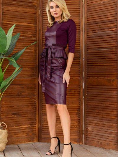 Платье экокожа трикотаж3