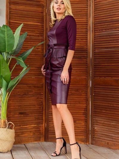Платье экокожа трикотаж2