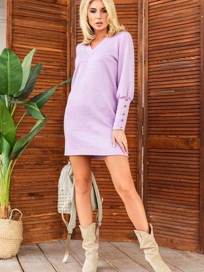 Теплое прямое короткое платье